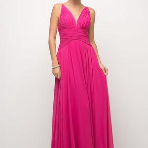 Cinderella's Closet Dresses - Fuchsia V-Neckline Evening Long Dress